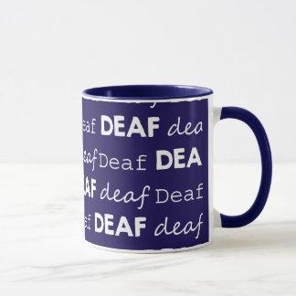 För typografivit för DÖV kultur unika blått Mugg