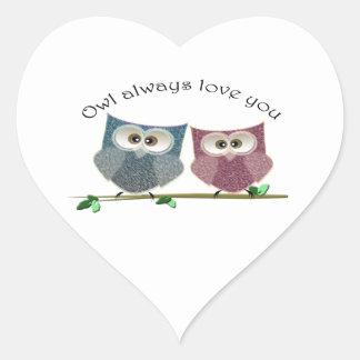 För uggla kärlek alltid dig, gullig ugglakonst hjärtformat klistermärke