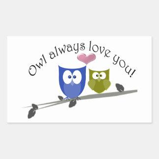 För uggla kärlek alltid dig, gullig ugglakonst rektangulärt klistermärke