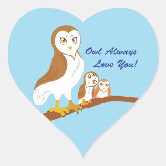 För uggla kärlek alltid dig! hjärtformat klistermärke