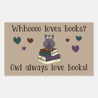 För uggla kärlekbokar alltid rektangulärt klistermärke