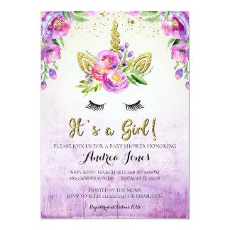 För Unicornbaby shower för guld- glitter blom- 12,7 X 17,8 Cm Inbjudningskort