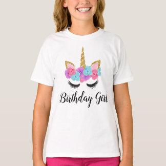 För Unicornfödelsedag för blommor guld- Magical Tee Shirt