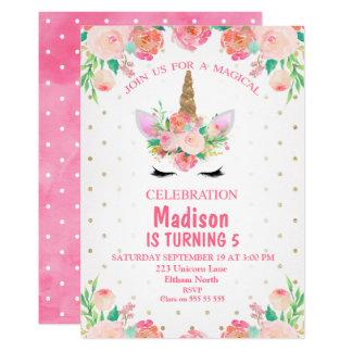 För Unicornfödelsedag för vattenfärg blom- 12,7 X 17,8 Cm Inbjudningskort