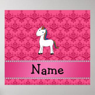 För unicornrosor för personlig känd damast poster