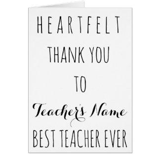 För uppriktigt tack bäst för lärare typografi hälsningskort
