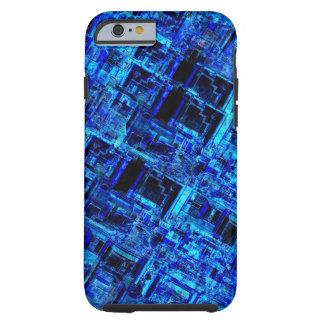 För utrymmemetall för blått främmande raster tough iPhone 6 case