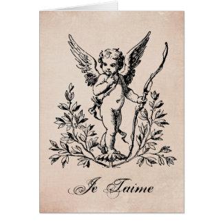 För valentincherub för vintage fransk notecard OBS kort
