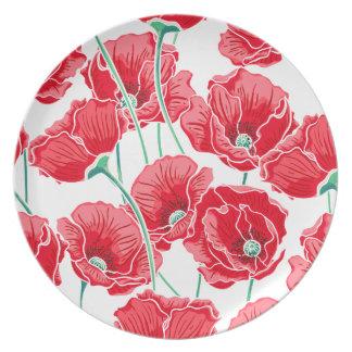 För vallmofält för minne röd blommönster tallrik