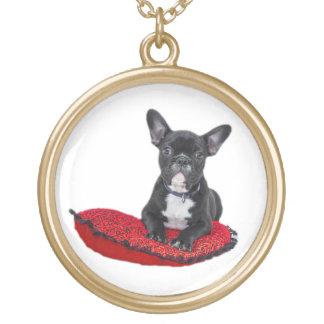 För valpfoto för fransk bulldogg gulligt halsband