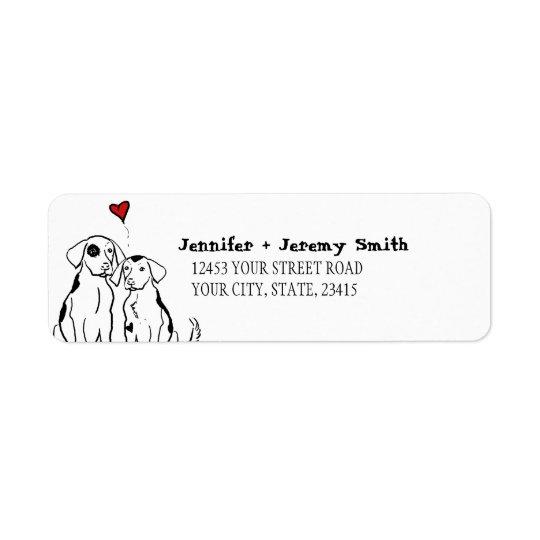 För valpkärlek för två hundar etikett för returadress etikett