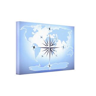 För världskarta för kompass rosa kanvastryck