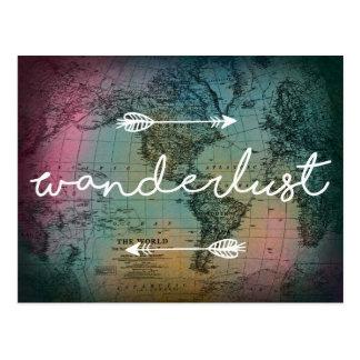 För världskarta för Wanderlust färgrik vykort