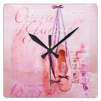 För vattenfärgBallerina för vintage rosa balett Fyrkantig Klocka