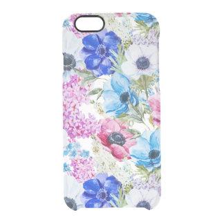 För vattenfärgblommor för midnatta blått clear iPhone 6/6S skal