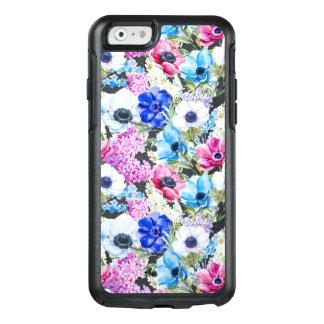 För vattenfärgblommor för midnatta blått OtterBox iPhone 6/6s fodral