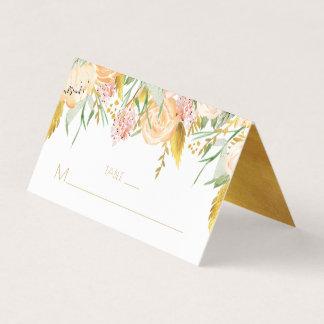 För vattenfärgblommor för persika rosa guld- kort