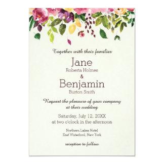 För vattenfärgbröllop för blommigt trädgårds- 12,7 x 17,8 cm inbjudningskort