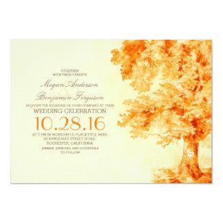 för vattenfärgbröllop för gammalt träd orange 12,7 x 17,8 cm inbjudningskort