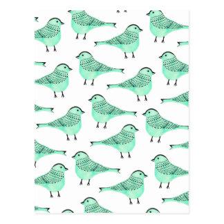 För vattenfärgfågel för original gröna penseldrag vykort