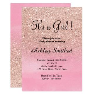 För vattenfärgflicka för rosa guld- glitter rosa 12,7 x 17,8 cm inbjudningskort