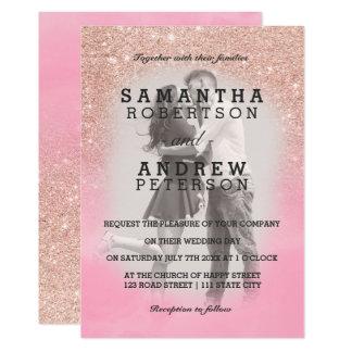 För vattenfärgfoto för rosa guld- glitter rosa 12,7 x 17,8 cm inbjudningskort