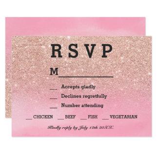 För vattenfärgOSA för rosa guld- glitter rosa 8,9 X 12,7 Cm Inbjudningskort