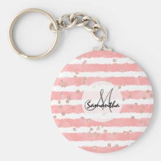 För vattenfärgrandar för rosa guld- konfettiar rund nyckelring