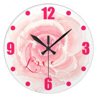 För vattenfärgro för kärlek rosa romantik stor klocka