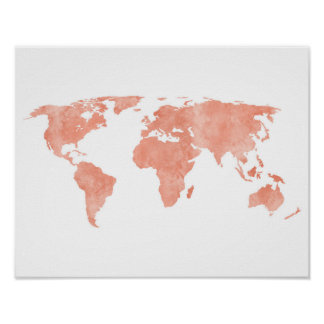 För vattenfärgvärld för öken rosa karta poster