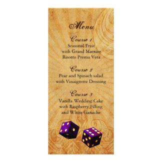för Vegas för lilatärningvintage meny bröllop
