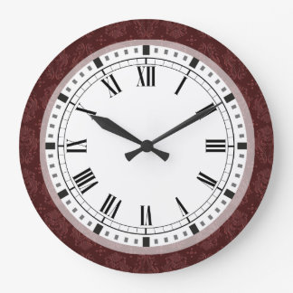 För Victorianfröjd för Ruby röd damast Stor Klocka