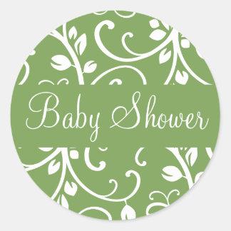För Vinekuvertet för baby shower förseglar den Runt Klistermärke