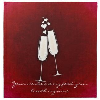 För vinexponeringsglas för romantiker tvilling- tygservett