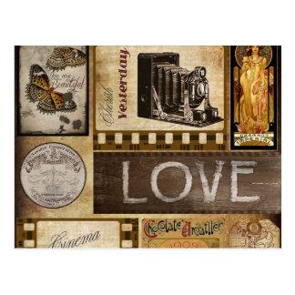 För vintage för kärlekkvinna igår choklad för bio vykort