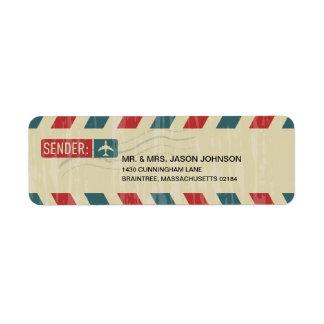 För vintage RETURADRESSbrevskickande flygpost Returadress Etikett