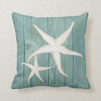 För vintageAqua för sjöstjärnan kudder kräm- trä Kudde