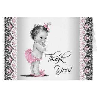 För vintagebaby shower för rosor grått tack OBS kort