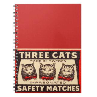 För vintageetikett för tre katter anteckningsbok