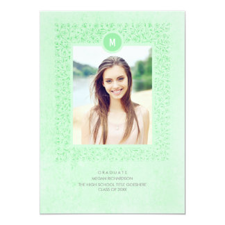 För vintagefoto för Mint elegant blom- studentfest 12,7 X 17,8 Cm Inbjudningskort