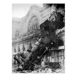 För vintagefoto för tåg forcerad vykort