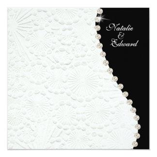 För vintagemönster för förlovning svartvit fyrkantigt 13,3 cm inbjudningskort