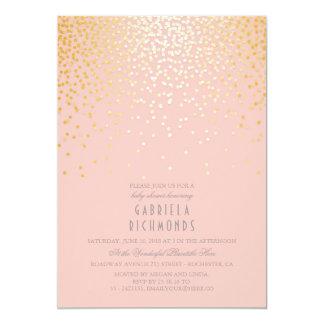 För vintagerosor för konfettiar guld- elegant baby 12,7 x 17,8 cm inbjudningskort