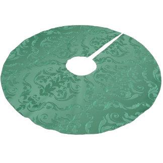 För vintagestil för Jade grön damast Julgransmatta Borstad Polyester