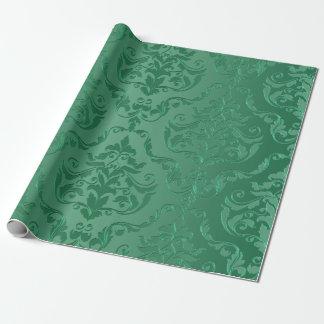 För vintagestil för Jade grön damast Presentpapper