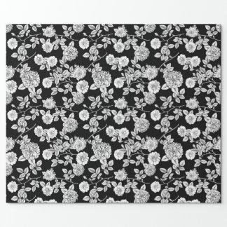 För vintagesvart | blom- DIY bakgrund för vit Presentpapper