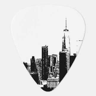 För vintagesvarten för NYC New York vit avbildar Plektrum