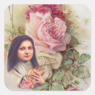 För vintageVictorian för St. Therese rosor och vit Fyrkantigt Klistermärke