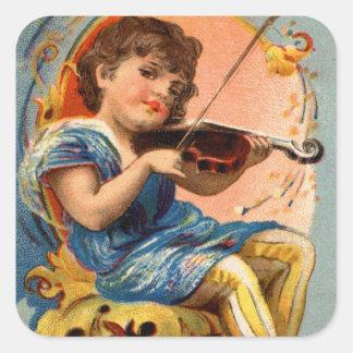 För Violoin för piano för vintageVictoriansmed Fyrkantigt Klistermärke