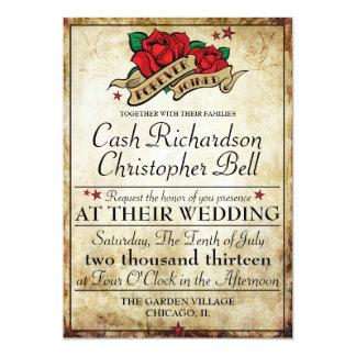 För vippabröllop för Rockabilly tatuering rosa 12,7 X 17,8 Cm Inbjudningskort